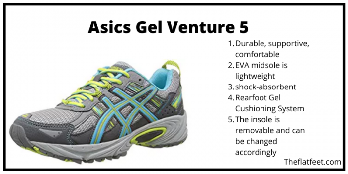 difference between asics gel venture 5 6 and 7